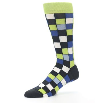 Image of Lime Blue Dark-Grey Checkered Men's Dress Socks (side-2-10)