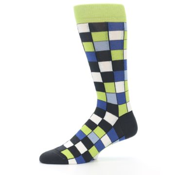Image of Lime Blue Dark-Grey Checkered Men's Dress Socks (side-2-11)
