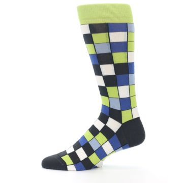 Image of Lime Blue Dark-Grey Checkered Men's Dress Socks (side-2-12)