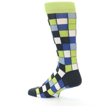 Image of Lime Blue Dark-Grey Checkered Men's Dress Socks (side-2-back-14)