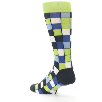 Image of Lime Blue Dark-Grey Checkered Men's Dress Socks (side-2-back-15)