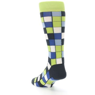 Image of Lime Blue Dark-Grey Checkered Men's Dress Socks (side-2-back-16)