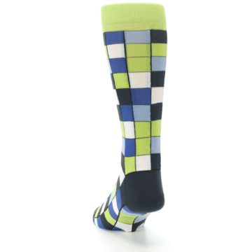Image of Lime Blue Dark-Grey Checkered Men's Dress Socks (back-17)