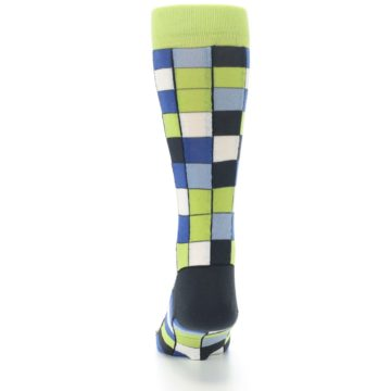 Image of Lime Blue Dark-Grey Checkered Men's Dress Socks (back-18)