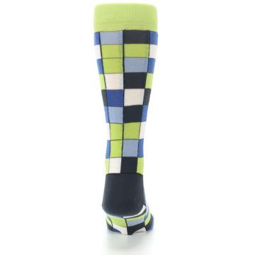 Image of Lime Blue Dark-Grey Checkered Men's Dress Socks (back-19)