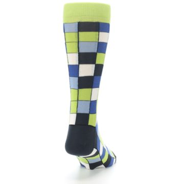 Image of Lime Blue Dark-Grey Checkered Men's Dress Socks (side-1-back-20)