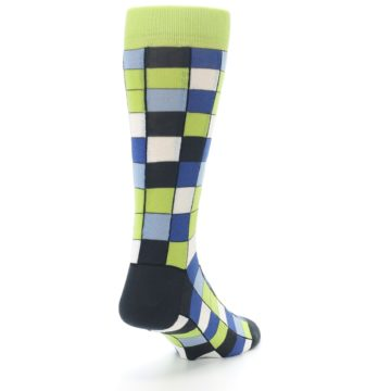 Image of Lime Blue Dark-Grey Checkered Men's Dress Socks (side-1-back-21)