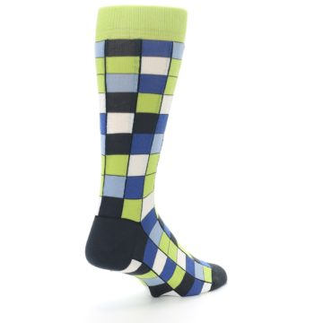 Image of Lime Blue Dark-Grey Checkered Men's Dress Socks (side-1-back-22)