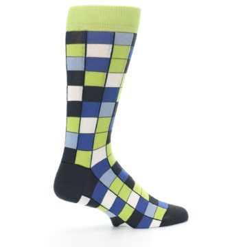 Image of Lime Blue Dark-Grey Checkered Men's Dress Socks (side-1-24)