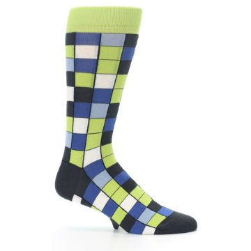Image of Lime Blue Dark-Grey Checkered Men's Dress Socks (side-1-25)