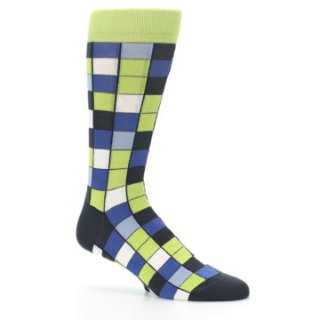 Image of Lime Blue Dark-Grey Checkered Men's Dress Socks (side-1-26)