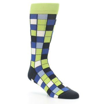 Image of Lime Blue Dark-Grey Checkered Men's Dress Socks (side-1-27)