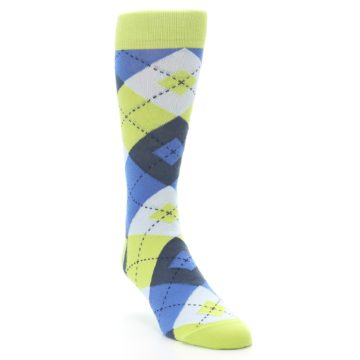 Image of Lime Green Blues Argyle Men's Dress Socks (side-1-front-02)