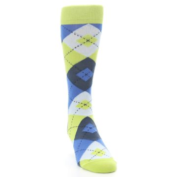 Image of Lime Green Blues Argyle Men's Dress Socks (side-1-front-03)
