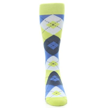 Image of Lime Green Blues Argyle Men's Dress Socks (front-04)