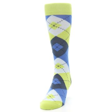 Image of Lime Green Blues Argyle Men's Dress Socks (side-2-front-06)