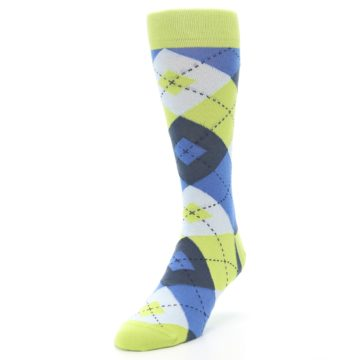 Image of Lime Green Blues Argyle Men's Dress Socks (side-2-front-07)