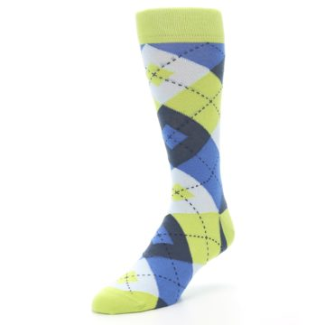 Image of Lime Green Blues Argyle Men's Dress Socks (side-2-front-08)