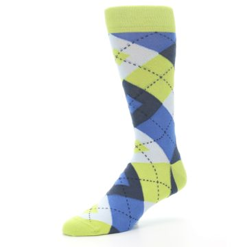 Image of Lime Green Blues Argyle Men's Dress Socks (side-2-09)