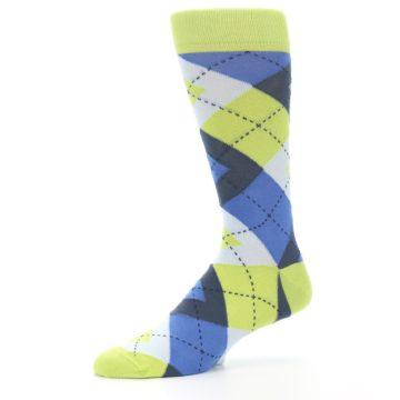 Image of Lime Green Blues Argyle Men's Dress Socks (side-2-10)