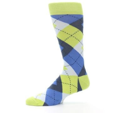 Image of Lime Green Blues Argyle Men's Dress Socks (side-2-11)