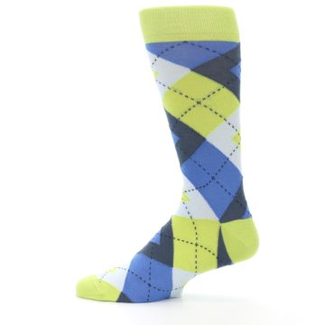 Image of Lime Green Blues Argyle Men's Dress Socks (side-2-12)