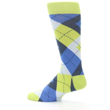 Image of Lime Green Blues Argyle Men's Dress Socks (side-2-13)