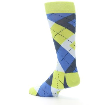 Image of Lime Green Blues Argyle Men's Dress Socks (side-2-back-14)
