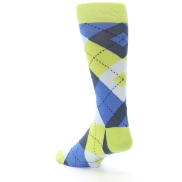 Image of Lime Green Blues Argyle Men's Dress Socks (side-2-back-15)