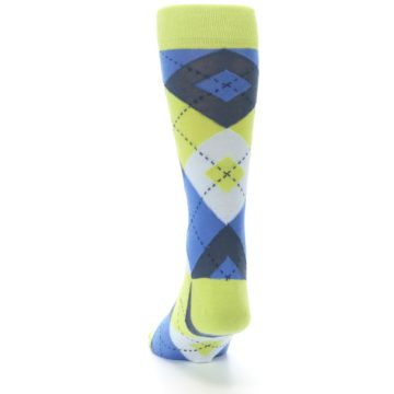 Image of Lime Green Blues Argyle Men's Dress Socks (back-17)