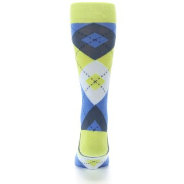 Image of Lime Green Blues Argyle Men's Dress Socks (back-18)