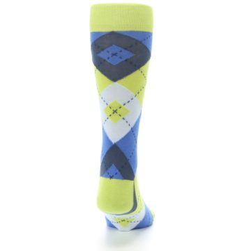 Image of Lime Green Blues Argyle Men's Dress Socks (back-19)