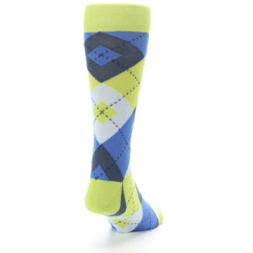 Image of Lime Green Blues Argyle Men's Dress Socks (side-1-back-20)