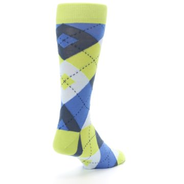 Image of Lime Green Blues Argyle Men's Dress Socks (side-1-back-21)