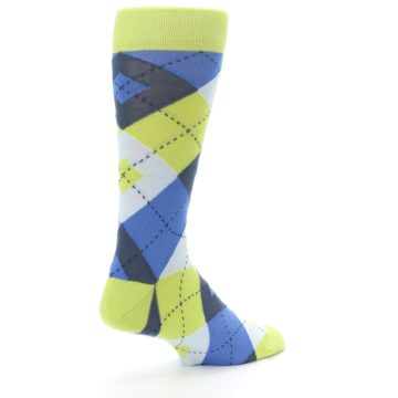 Image of Lime Green Blues Argyle Men's Dress Socks (side-1-back-22)