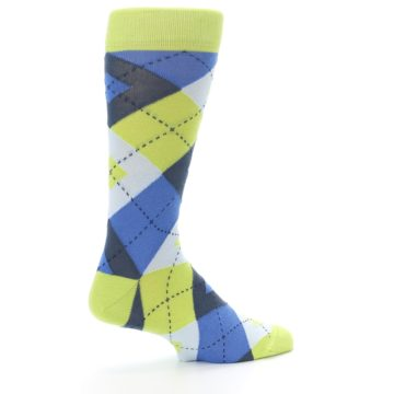 Image of Lime Green Blues Argyle Men's Dress Socks (side-1-23)