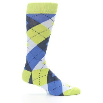 Image of Lime Green Blues Argyle Men's Dress Socks (side-1-24)
