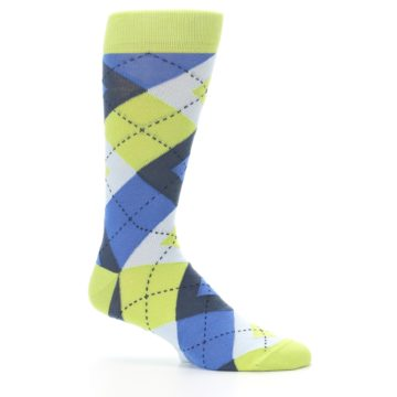 Image of Lime Green Blues Argyle Men's Dress Socks (side-1-25)