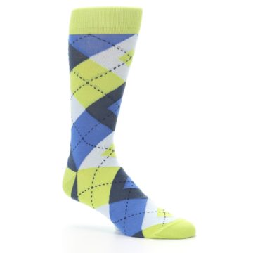 Image of Lime Green Blues Argyle Men's Dress Socks (side-1-26)