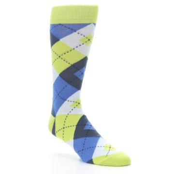 Image of Lime Green Blues Argyle Men's Dress Socks (side-1-27)