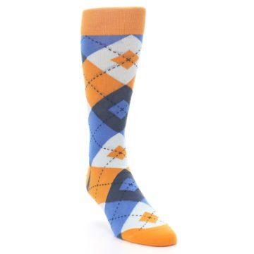 Image of Orange Blues Argyle Men's Dress Socks (side-1-front-02)