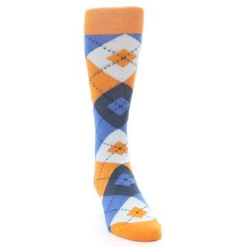 Image of Orange Blues Argyle Men's Dress Socks (side-1-front-03)