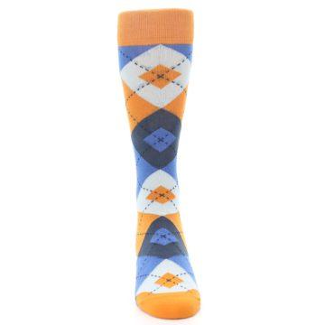 Image of Orange Blues Argyle Men's Dress Socks (front-04)