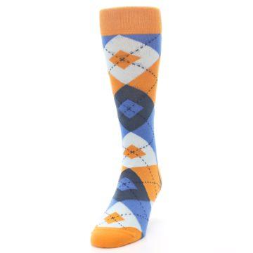 Image of Orange Blues Argyle Men's Dress Socks (side-2-front-06)