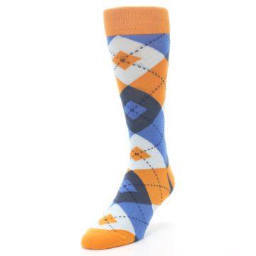 Image of Orange Blues Argyle Men's Dress Socks (side-2-front-07)