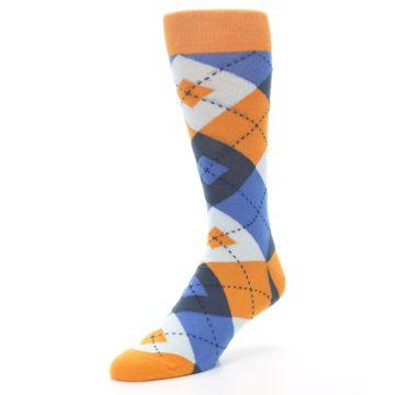 Image of Orange Blues Argyle Men's Dress Socks (side-2-front-08)