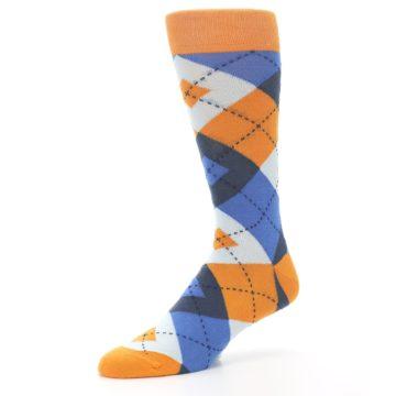 Image of Orange Blues Argyle Men's Dress Socks (side-2-09)