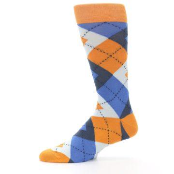 Image of Orange Blues Argyle Men's Dress Socks (side-2-11)