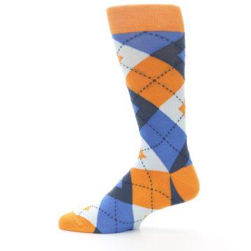 Image of Orange Blues Argyle Men's Dress Socks (side-2-12)
