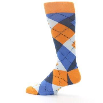 Image of Orange Blues Argyle Men's Dress Socks (side-2-13)